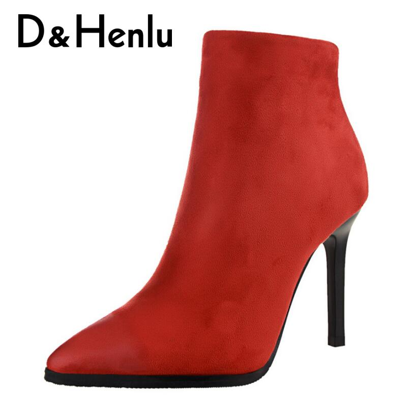 D&Henlu Basic Boots 2018 Winter Short Boots Zipper Boot Women Autumn Woman Shoes Thin Heels Point Toe Ankle Boot High Top Heel wetkiss genuine leather ankle boots women patent square toe zipper female boot autumn thick high heels winter boots woman shoes