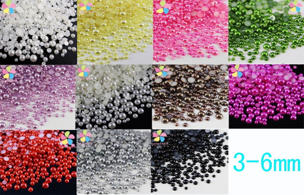 Lucia Crafts Mixed 3/4/5/6mm Multi colors option ABS Resin Half Round Flatback Imitation Pearls 576pcs 15010027(3-6D576)