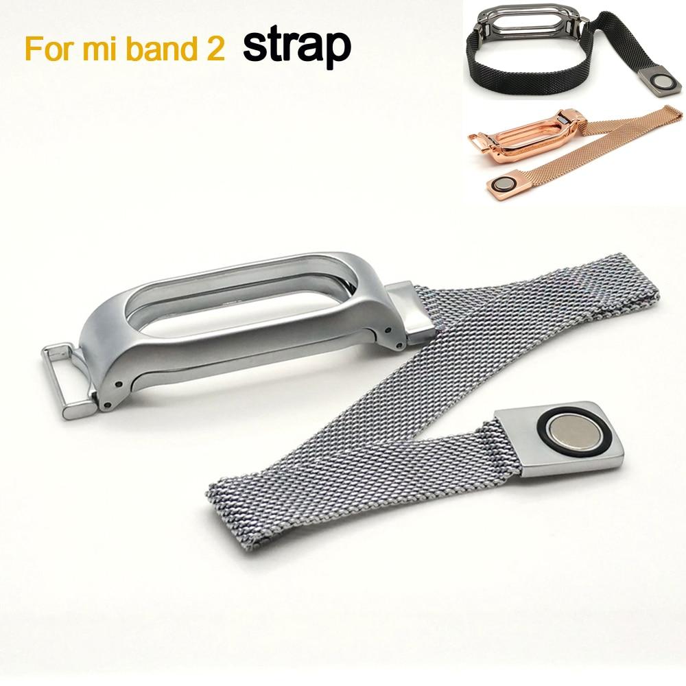 De luxe milanese boucle sangle pour xiaomi mi bande 2 sans vis bracelet en acier inoxydable bande à puce remplacer accessoires pour mi bande 2