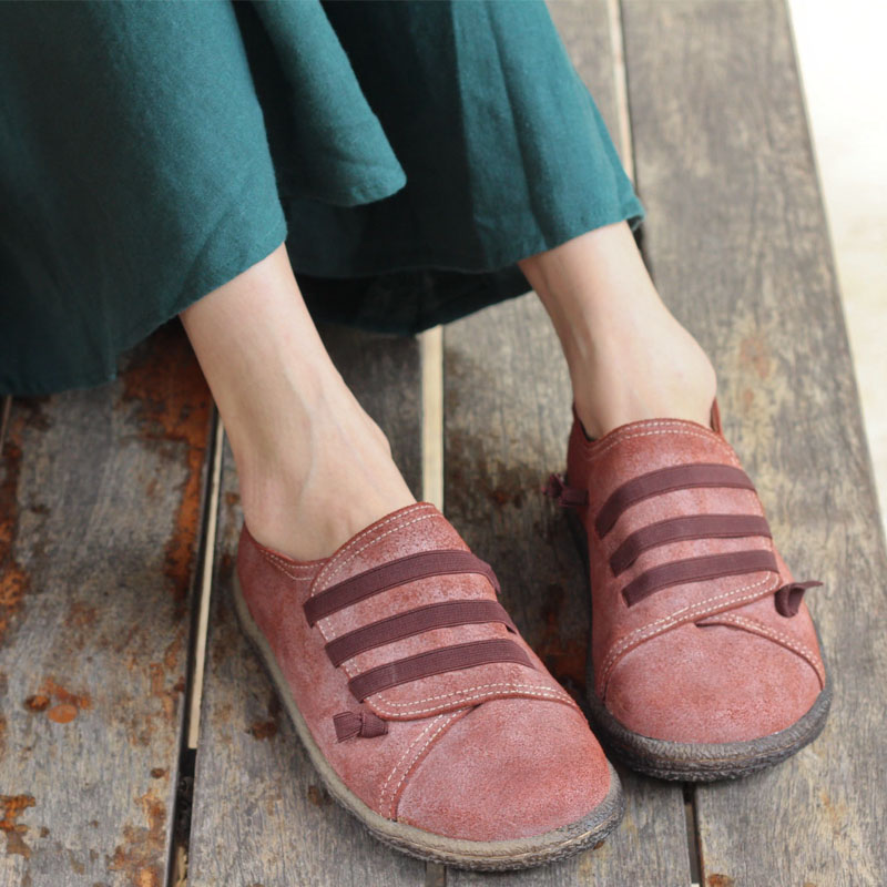 Shoes Woman Flat Round toe slip on Ladies Loafers Vintage Genuine Leather Flat Shoes for Women Female Casual Footwear (w168-1) new women genuine leather flat shoes round toe slip on women flats ladies casual flat shoes comfortable loafers size 22 26 5 cm