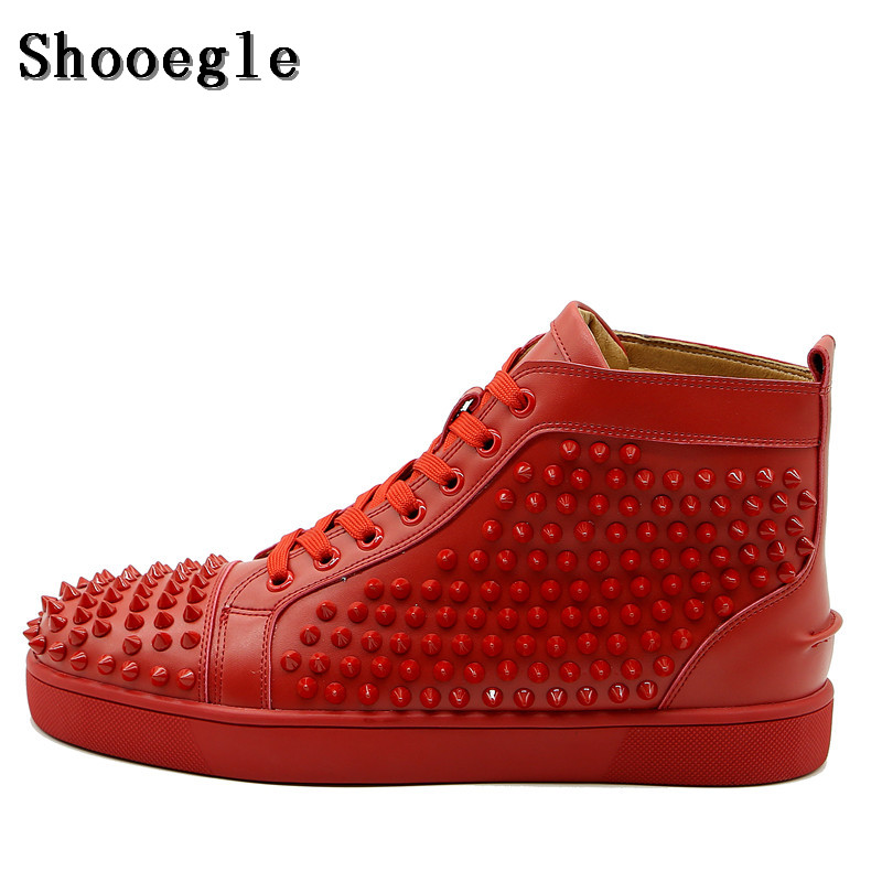 SHOOEGLE New Chaussure Homme Men Spike Shoes Stylish Sneakers High-top Men Shoes Platform Rivets Red Blue Leather Ankle Boots