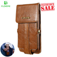 FLOVEME Leather Case Wallet Waist Pouch Pocket Retro Business Easy Mobile Phone Bag Cover Man Fundas