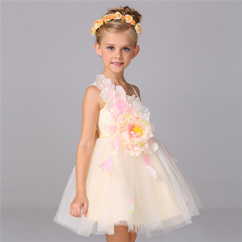 Children Summer Baby Dress Peony flower Tutu Dresses For Wedding Birthday Party Clothes vestido infantil 2 4 6 8 10 Years 3 years to 10t flower children girls summer dress baby show tunic tutu dresses for kids birthday gift dress