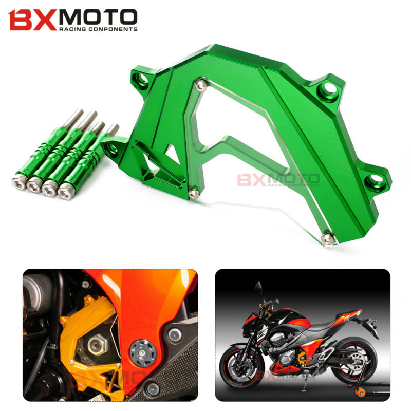 For Kawasaki Z800 Z 800 2013-2015 Panel Left Engine Guard Chain Cover Protector Motorcycle accessories CNC Aluminum screws cap for kawasaki z800 z 800 2013 2016 motorcycle cnc aluminum panel left engine guard chain cover protector front sprocket cover