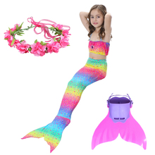 New Children Mermaid Tail With Monofin Kids Girls Costumes Tails For Swimming  Swimsuit Flipper