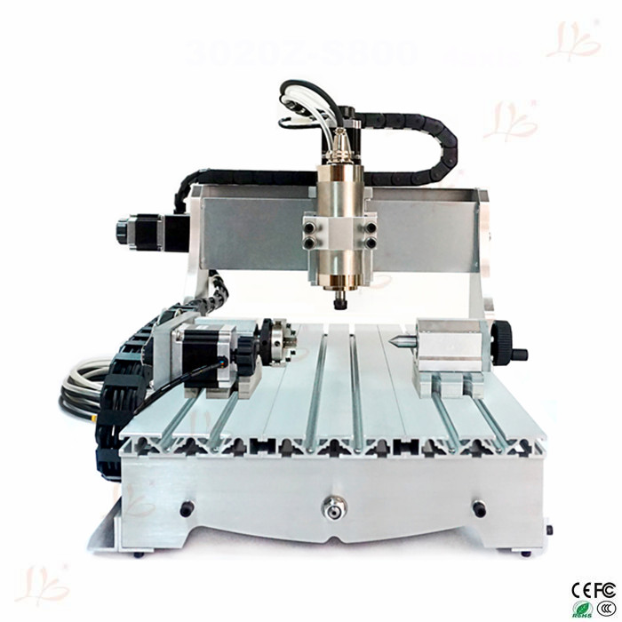 800W spindle 4axis cnc machine 3040Z-S800W mini cnc milling machine for hard metal wood glass engrave cnc 5axis a aixs rotary axis t chuck type for cnc router cnc milling machine best quality