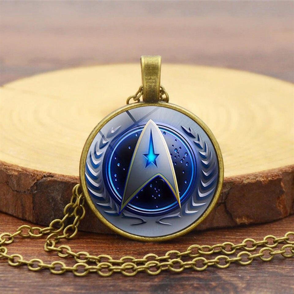Star Trek Starfleet Pendant Cosplay Men Women Necklace Aclloy Glass Badge Handmade Gemstone Necklace Pendant Cosplay Accessories