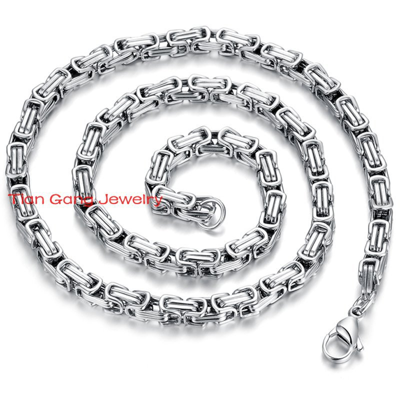 8eb8e73505 21.6 5mm plata tono 316l collar de acero inoxidable bizantina mens Niños  Collares de cadena joyería al por mayor