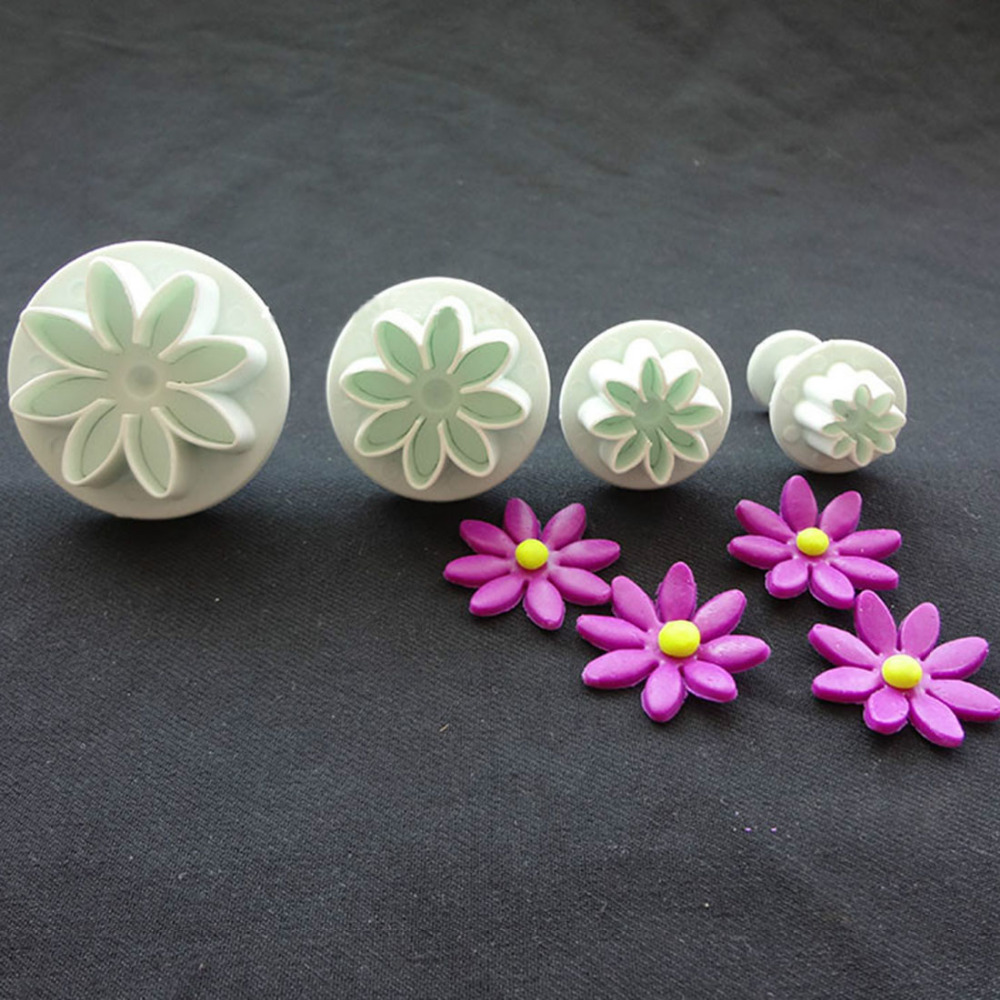 4PcsSet Daisy Flower Cookie Sunflower Plunger Cutter Sugarcraft Fondant Cake Tool Christmas