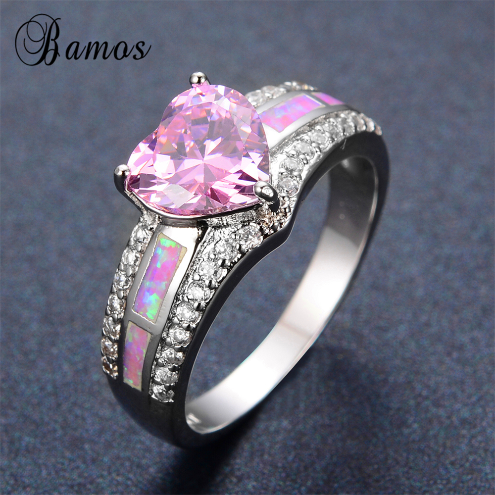 Bamos 2017 Luxury Female Pink Heart Ring 925 Sterlin Silver Filled White  Fire Opal Ring Promise Engagement Rings For Women Gifts