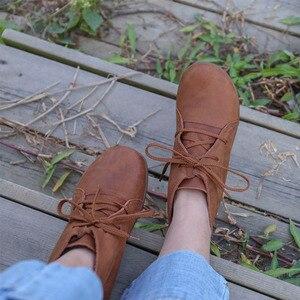 Image 5 - Bottines en cuir véritable pour femme, chaussures à bout rond, grande taille, faites à la main, à lacets, chaussures femme (5188), 35 46