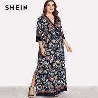 SHEIN V Neck Tribal Plus Size Dress Maxi Overlap Front Floral Print Dress Women Large Sizes