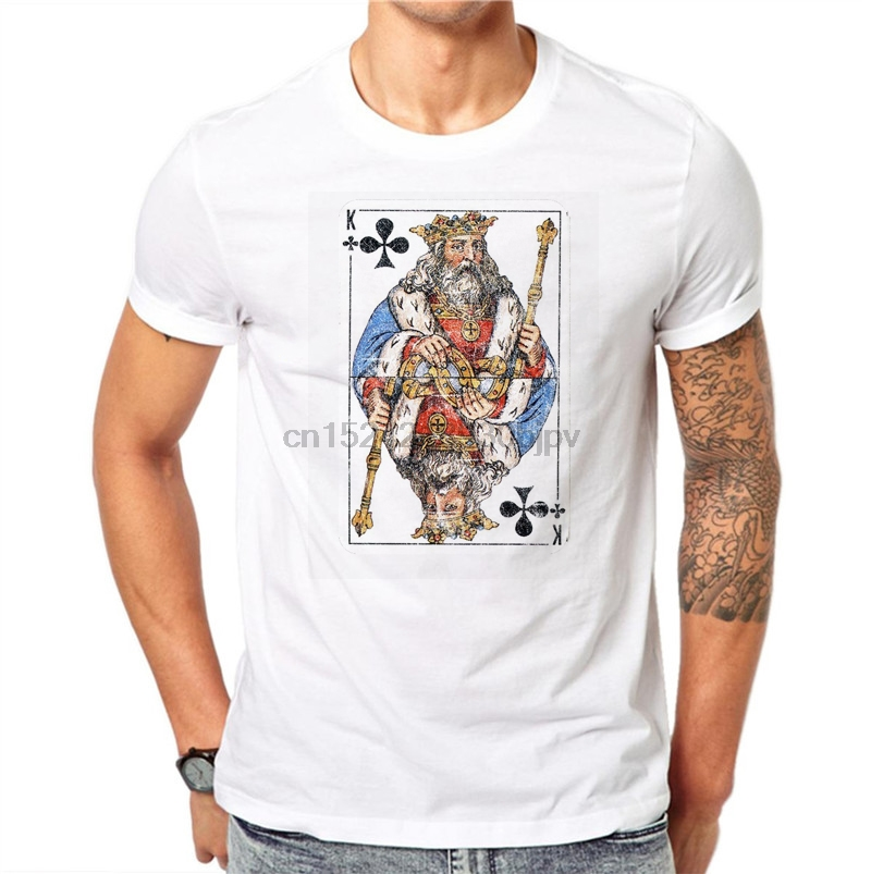 Playing Cards Poker KING Design Men T-shirts Print Male White Tops Fashion  Short Sleeve 0ee09f38649d