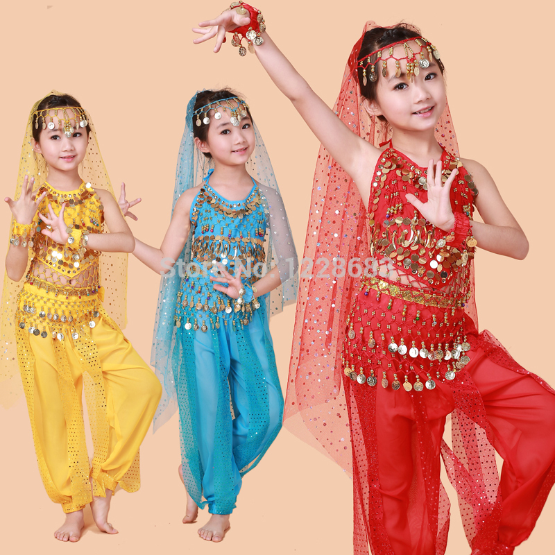 Cheap Prices 2 Piece Set Pant And Top Sequin Bellydance Indian Kids Dress Bollywood Belly Dance Costumes For Kids