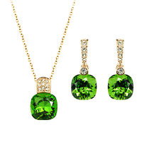 famous brand natural green crystal heart necklace + earrings Korean female fashion gold party women jewelry sets girlfriend gift
