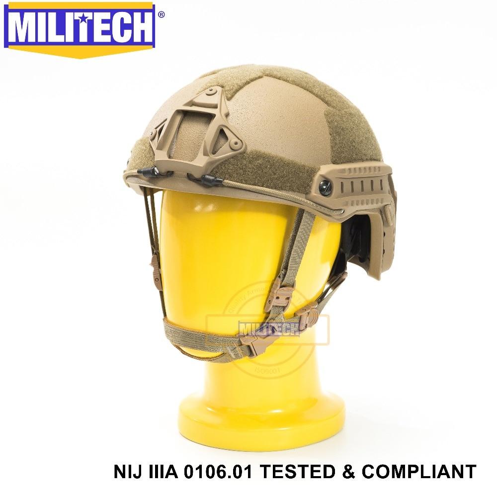 ISO Certified MILITECH CB NIJ Level IIIA 3A FAST OCC Liner High XP Cut Bulletproof Aramid Ballistic Helmet With 5 Years Warranty