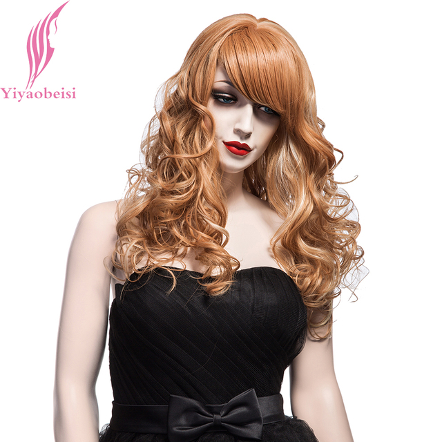 Yiyaobess 55cm White Highlights On Light Brown Wig With Bangs