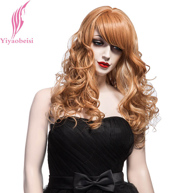 Online Shop Yiyaobess 55cm White Highlights On Light Brown Wig With