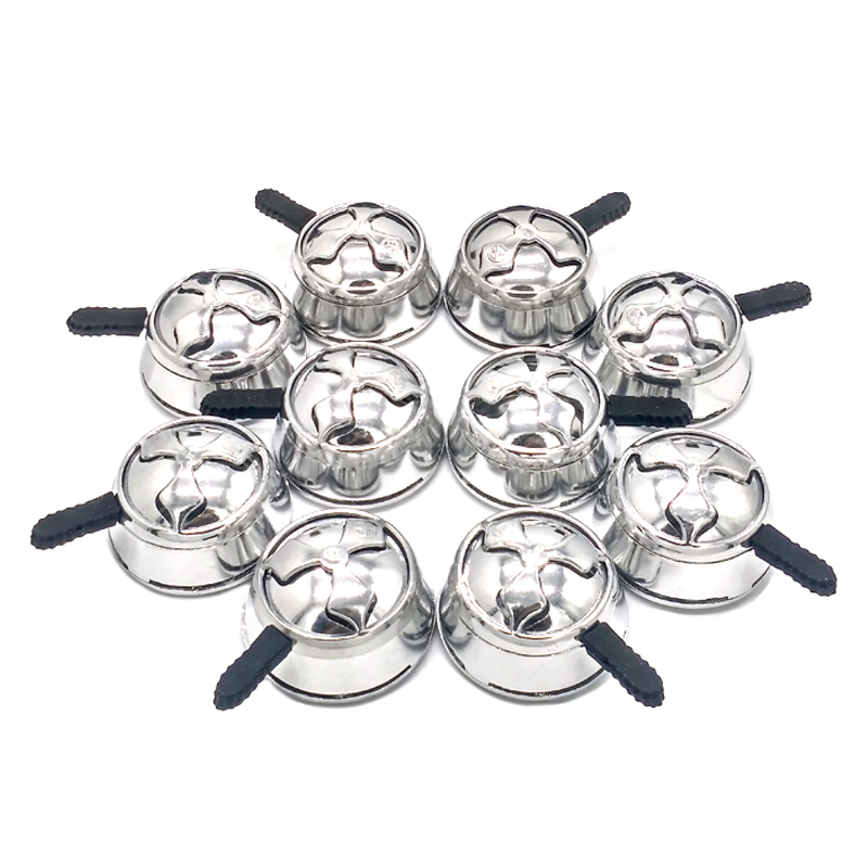 10 pcs lot Silver Metal Charcoal Holder With Single Handle For Shisha Hookah Sheesha Chicha Bowl Accessories SH 001 in Shisha Pipes Accessories from Home Garden