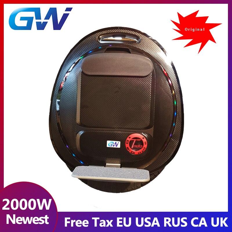Mise à niveau d'origine GOTWAY TESLA2 monocycle électrique monowheel, 2000 W, haut-parleur Bluetooth, bouton anti-ralenti Gotway Tesla V2 amélioré