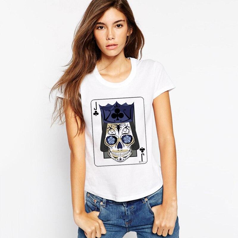 LUS LOS Jack of Clubs Sugar Skull Playing Card Women White T-Shirt Print Now Fashion
