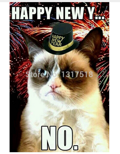 Custom Poster Happy New Year Grumpy Cat Say No 50x75cm Room Posters Home Decoration Wall