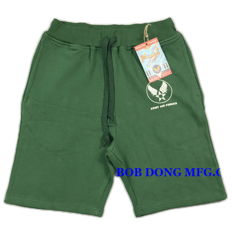 BOB DONG US Army Air Forces Military Style Men's Shorts USAF Casual Stright Short Pants Vintage 460g Cotton Sweatpants
