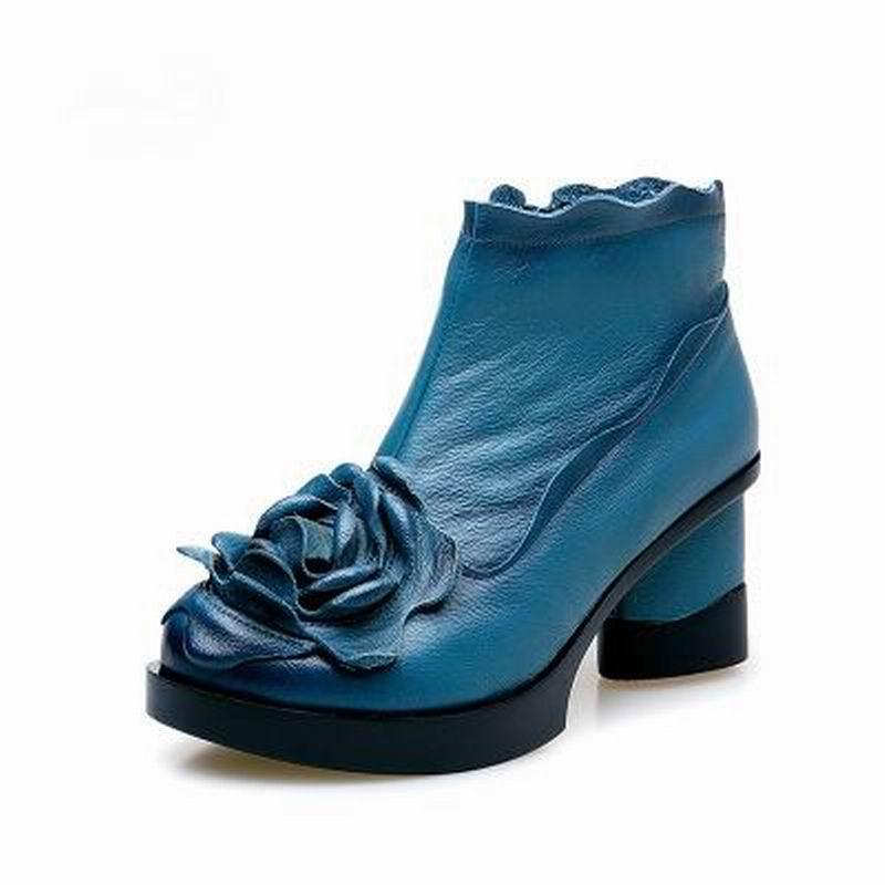 Véritable Main Cheville pourpre Talons Cuir D'hiver Femme Yaerni Bottes En Et De Chaussures Épais Mode bleu Automne Noir Femmes Casual E323 aw4Xq46