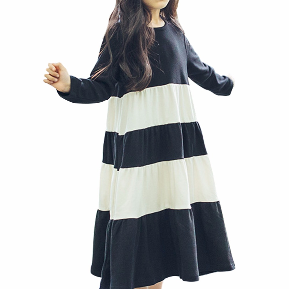 fe9ec26b097d1 Baby Girl Summer Dress Toddler Girl Casual Clothes Stripe Stitching Long  Sleeve Maxi Dress Children Clothing Bosudhsou-in Dresses from Mother & Kids  on ...