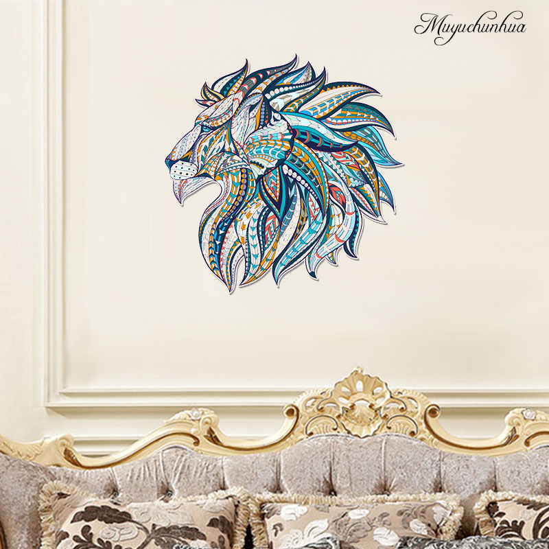 Muyuchunhua Bright-Coloured Wolf Head Art Wall Sticker for Family Decorl Room Decoration Wallpaper Home Decals Wall Stickers