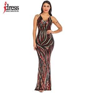 Image 4 - IDress Sexy Black Red Elegant Women Evening Party Dress 2019 Summer Lady Wear Slim Vestidos Femninos Sequined Long Dress Vestido