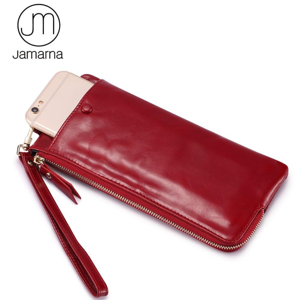 Jamarna Brand Women Wallets Genuine Leather Oil Wax Long Clutch Wallet Female Coin Purse Card Holder