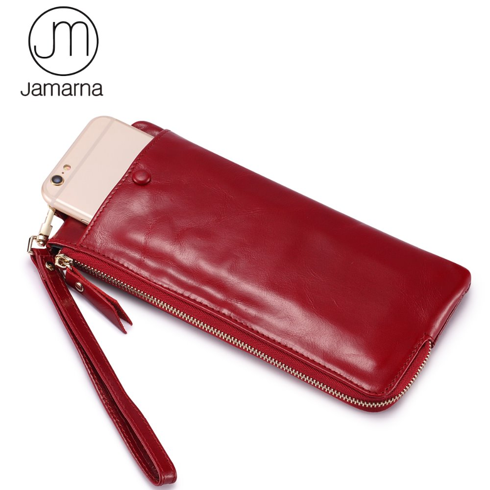 Jamarna Brand Women Wallets Genuine Leather Oil Wax Long Clutch Wallet Female Coin Purse Card Holder Phone Wallet For Women Red nawo real genuine leather women wallets brand designer high quality 2017 coin card holder zipper long lady wallet purse clutch