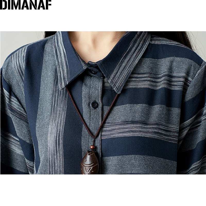 DIMANAF Women Blouse Long Sleeve Shirt Linen Autumn Plus Size Femme Striped Print Office Lady Basic Clothing Loose Cardigan 2018 5