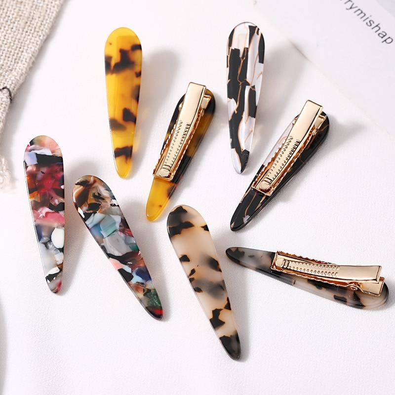 2PCS/Set New Women Elegant Leopard Print Acetate Geometric Hair Clip Headband Hairpin Barrette Headwear Fashion Hair Accessories