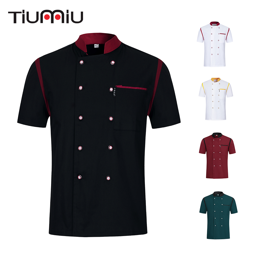 Men Women Chef Short Sleeve Uniform Breathable Patchwork Costume Food Service Restaurant Kitchen Unisex Cook Shirt Work Clothes