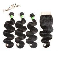 ANGE GRÂCE Brésilien Corps Vague de Cheveux 3 Bundles Avec Fermeture de Cheveux humains Weave Naturel Couleur Remy Cheveux 10-26 Pouce Livraison gratuite