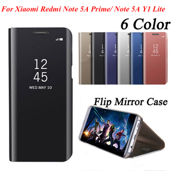 Luxury Flip Leather Smart Case For Xiaomi Redmi Note 5A Clear View Standing Mirror Case for Xiaomi Redmi Note 5A Prime Pro Cover