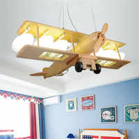 Star wish wooden Pendant Lights modern Aircraft model led lights for children bedroom boy room hunging lamp 110v 220v