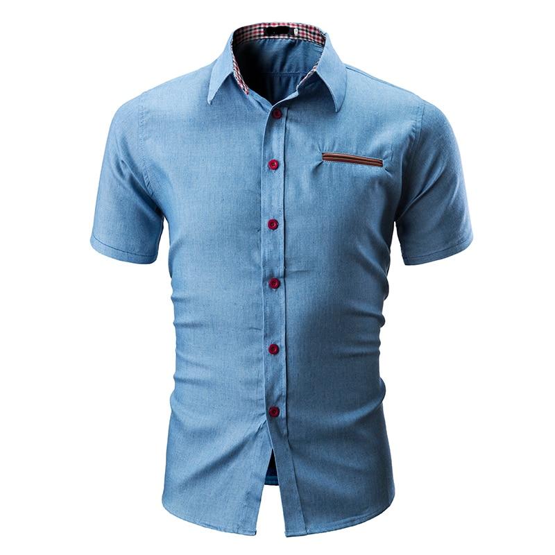 8d9f1422c3fa Men Shirt 2019 New Western Style Camisas Hombre Plaid Collar Fashion Casual  Summer Short Sleeve Denim Shirts Men Dress