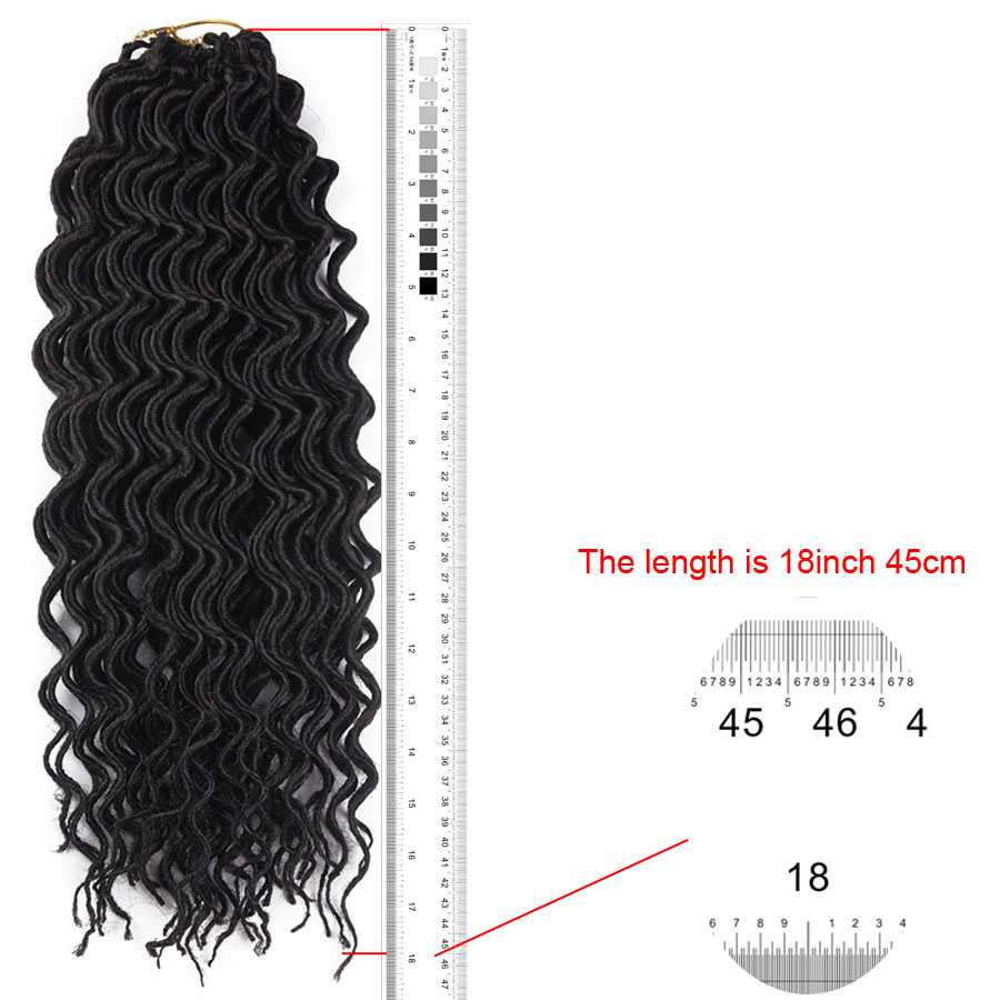 AliRobam Synthetic Soft Faux Locs Curly Crochet Braiding Hair Extensions 18Inch 24Strands/Pack Kanekalon Goddess Hairstyle
