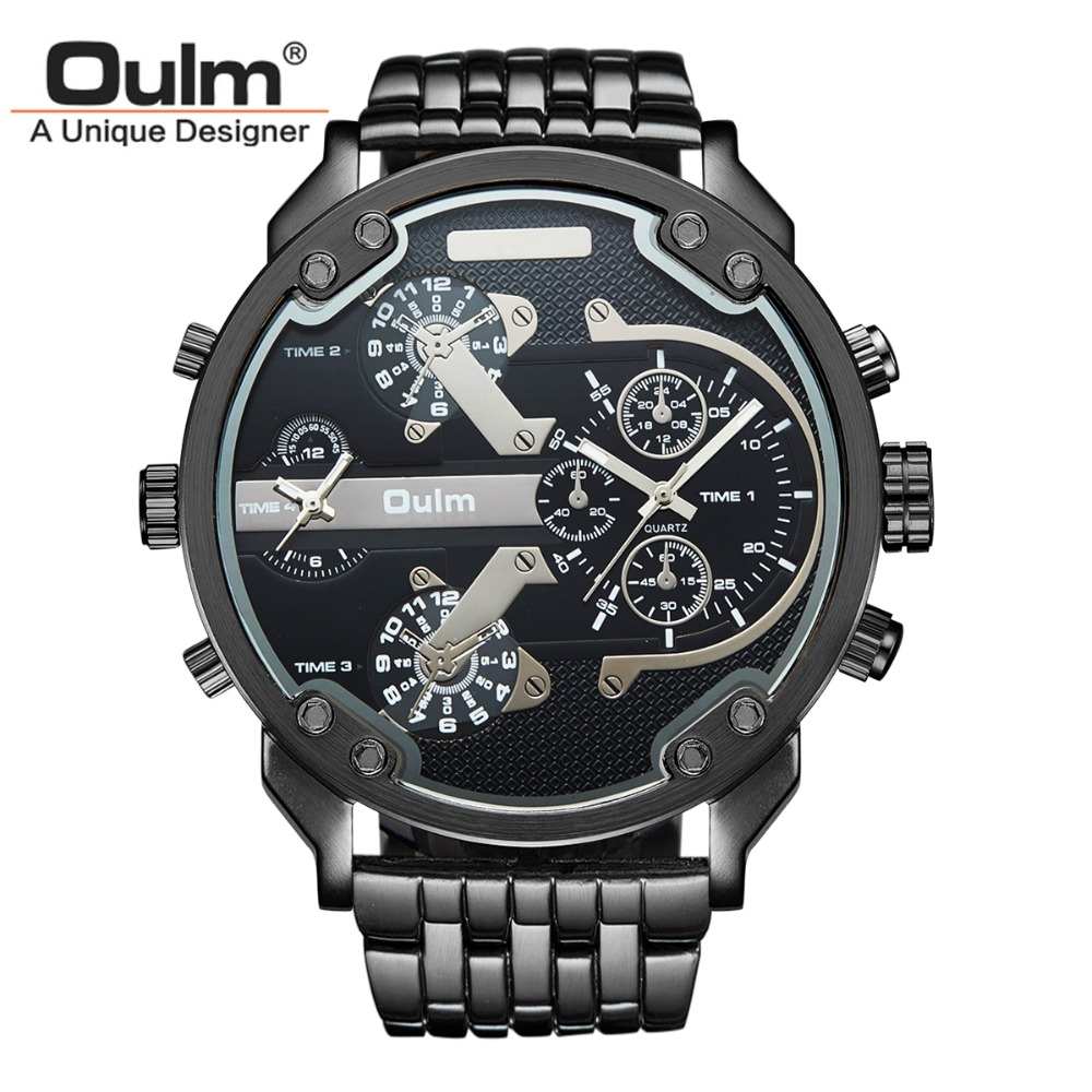 Oulm Brand HT3548 Mens 2 Dual Time Zones Japan Quartz Movement Big Dial Stainless Steel Strap Sports Wrist Watch Nice Gift