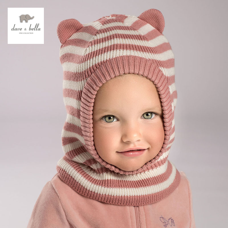 все цены на DB3759 dave bella winter baby boy navy striped hat girls pink textile hat with lining