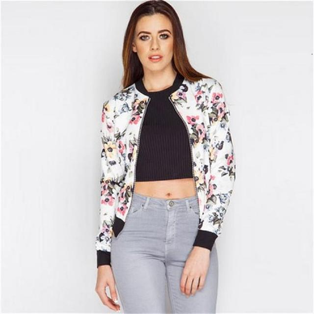 f4d2d45fd US $16.24 35% OFF|Women Parkas Flower Print Jackets Winter Bomber Jacket  2017 New Women Coat Cool Basic Down Padded Zipper Chaquetas Biker  Outwear-in ...