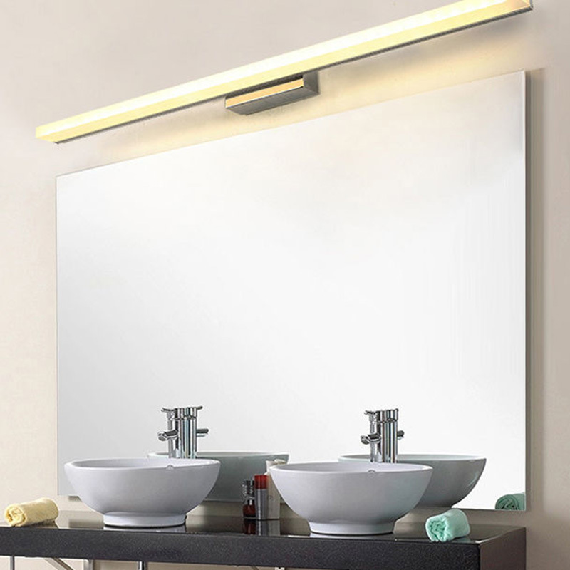 ФОТО Bathroom LED Wall Mirror Front Lighting Waterproof Antifogging Wall Light