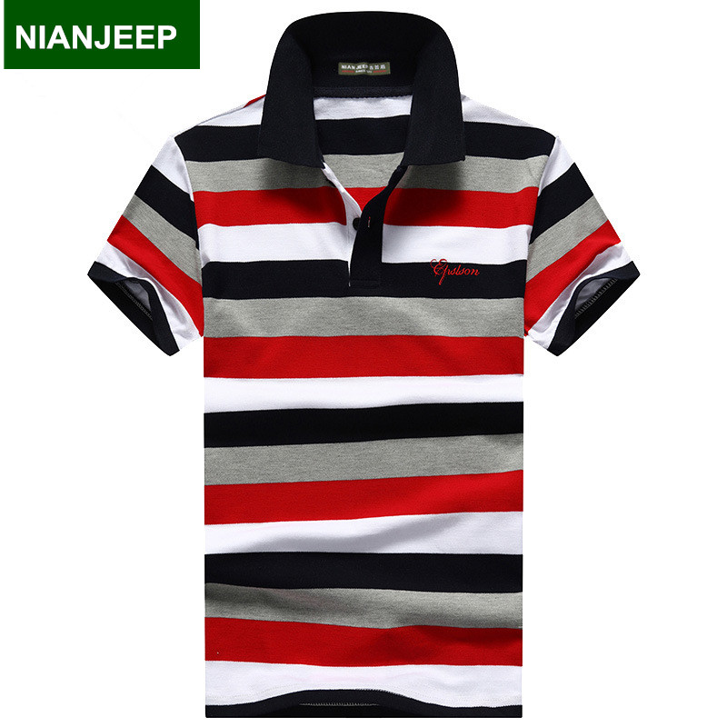 NIANJEEP Brand 2017 summer cotton mens POLO shirt short sleeved Breathable embroidery casual Polos shirts printing