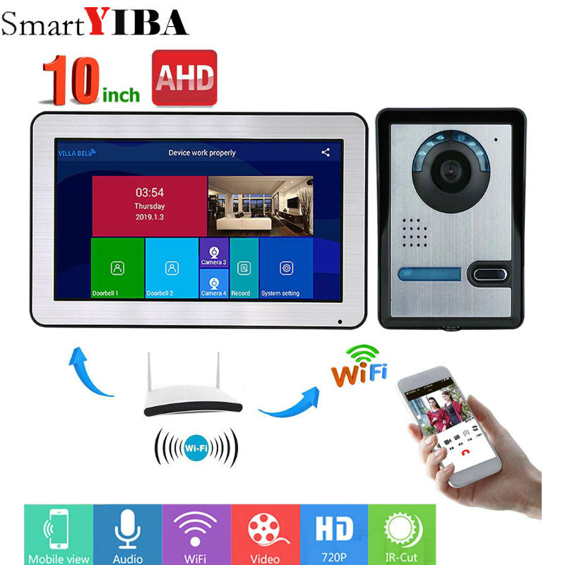 SmartYIBA 10 Inch Wired Wifi Video Door Phone Doorbell Intercom System With Door Access Control System
