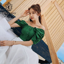 Dabuwawa 2019 חדש קיץ נשים של רטרו פאף שרוול ירוק חולצות אופנה חולצה מתוקה חולצות DN1BST044