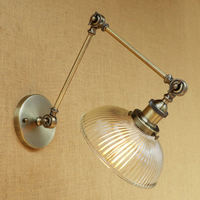 Retro Loft Industrial wall lamp glass lampshade free adjust long swing arm for living room bedroom restaurant bar LED E27