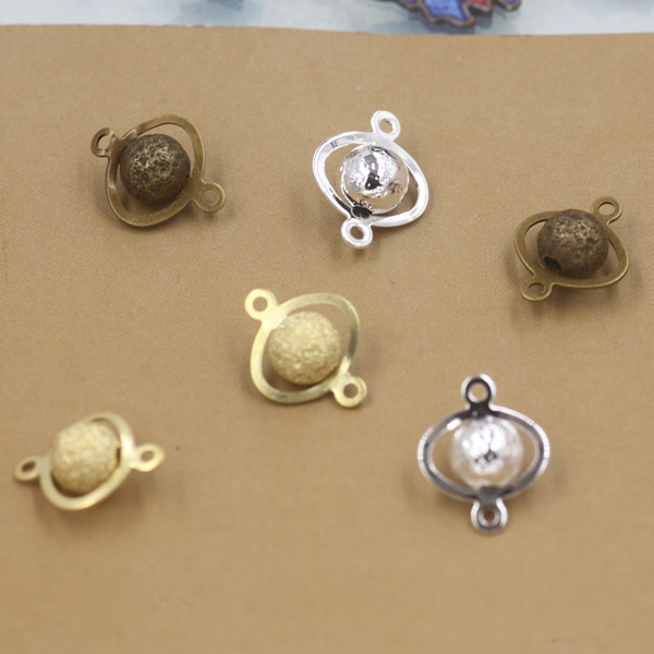 6mm Handmade Copper silver dull polish earth beads metal brass gold connector round beads diy ...